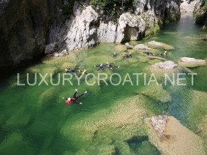extreme canyoning on cetina river near Omis