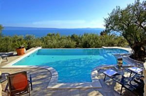 Panoramic seaview stone villa with pool, Split center